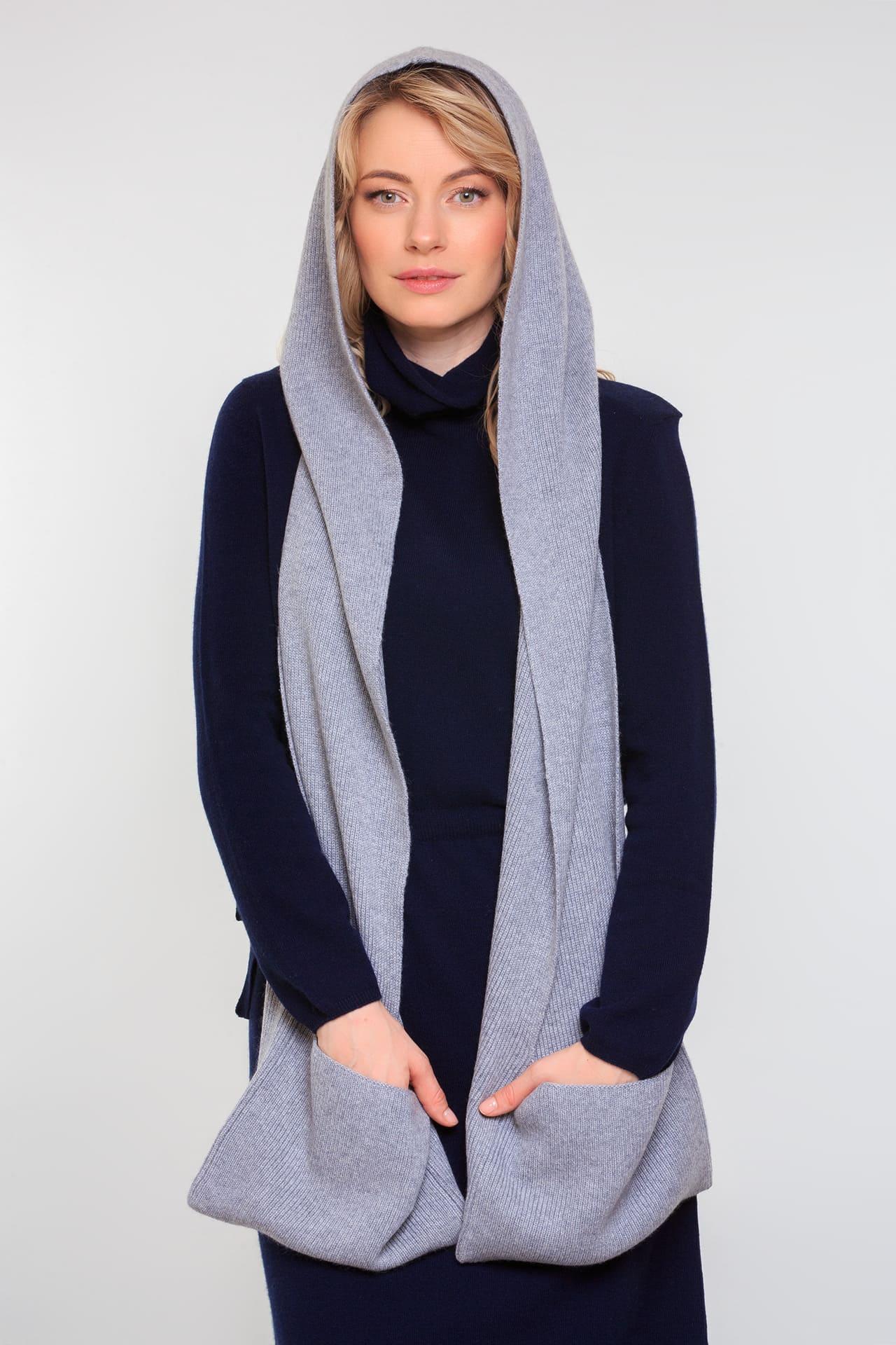 Кашемировый шарф-капюшон