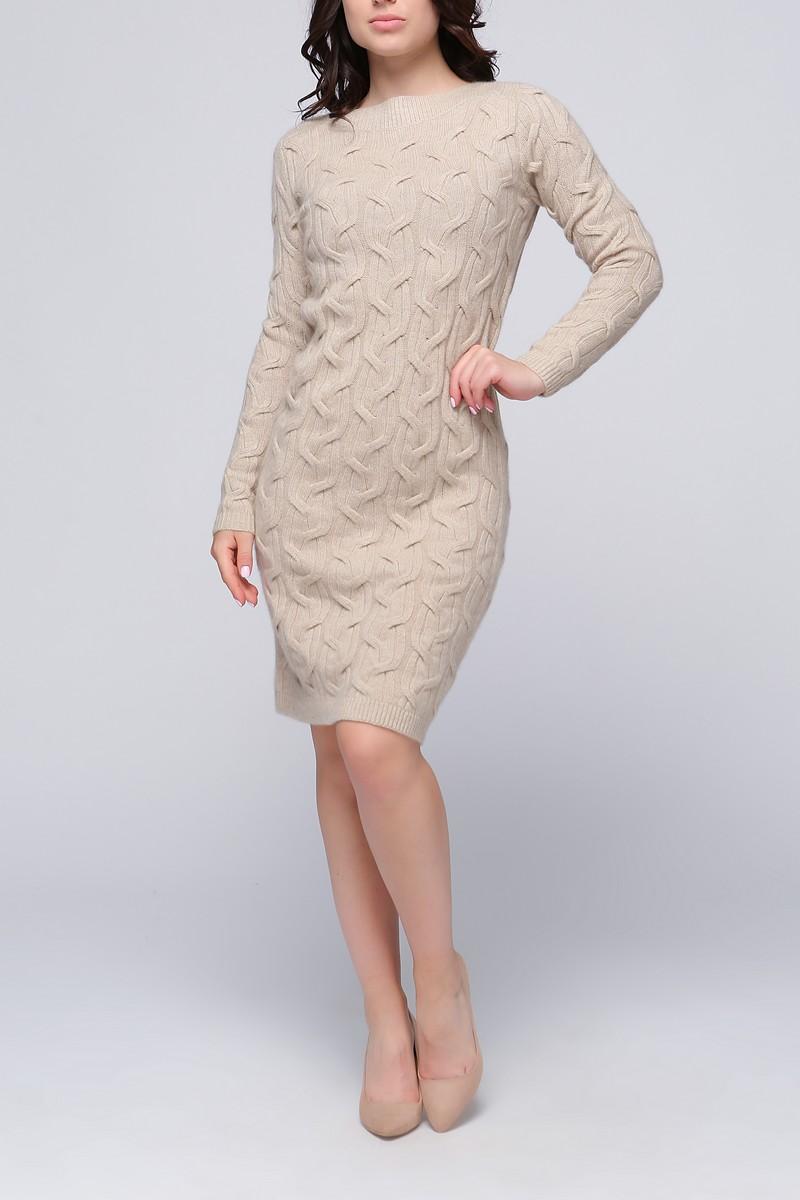 Кашемировое платье с вязаным узором