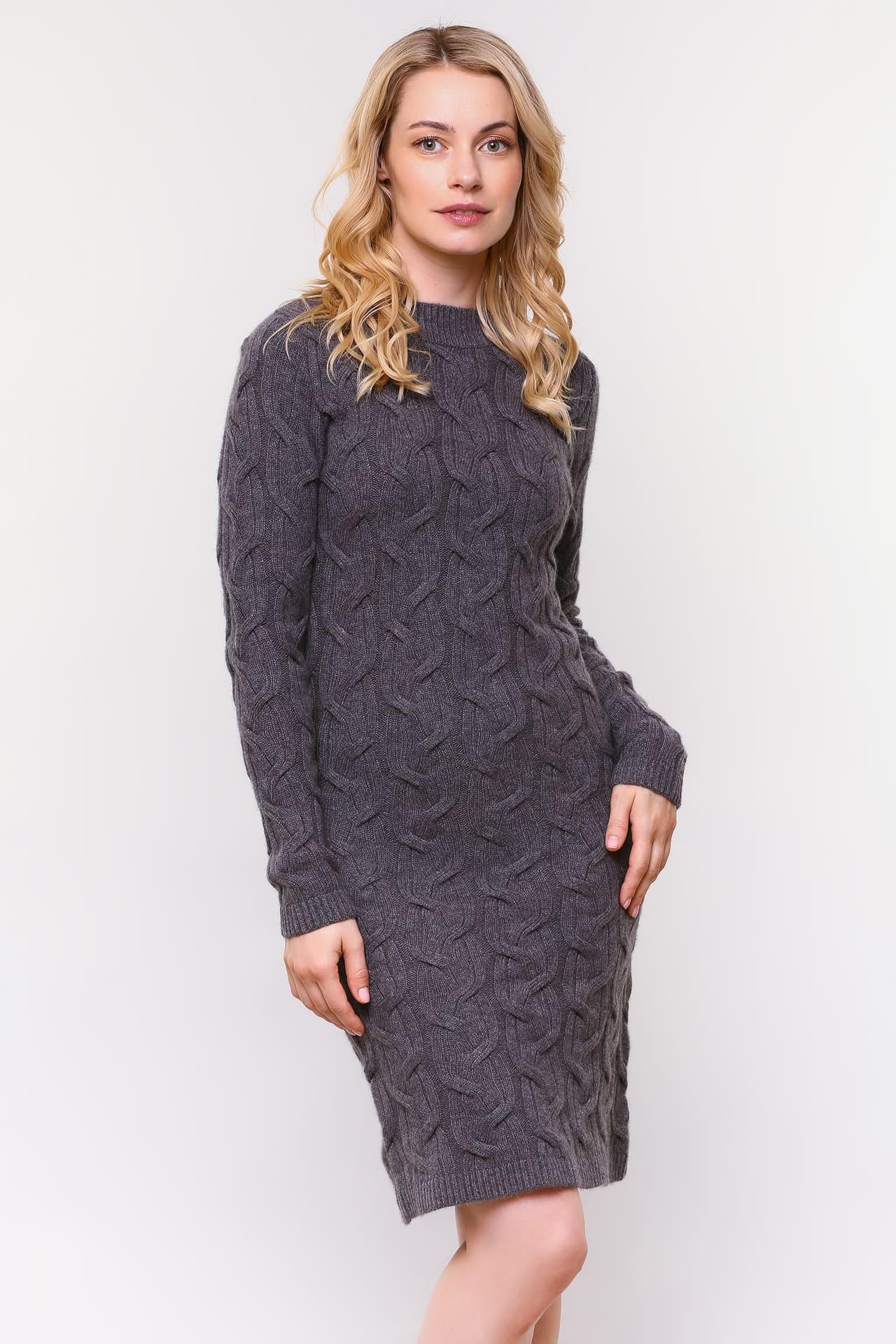 Кашемировое платье с вязанным узором