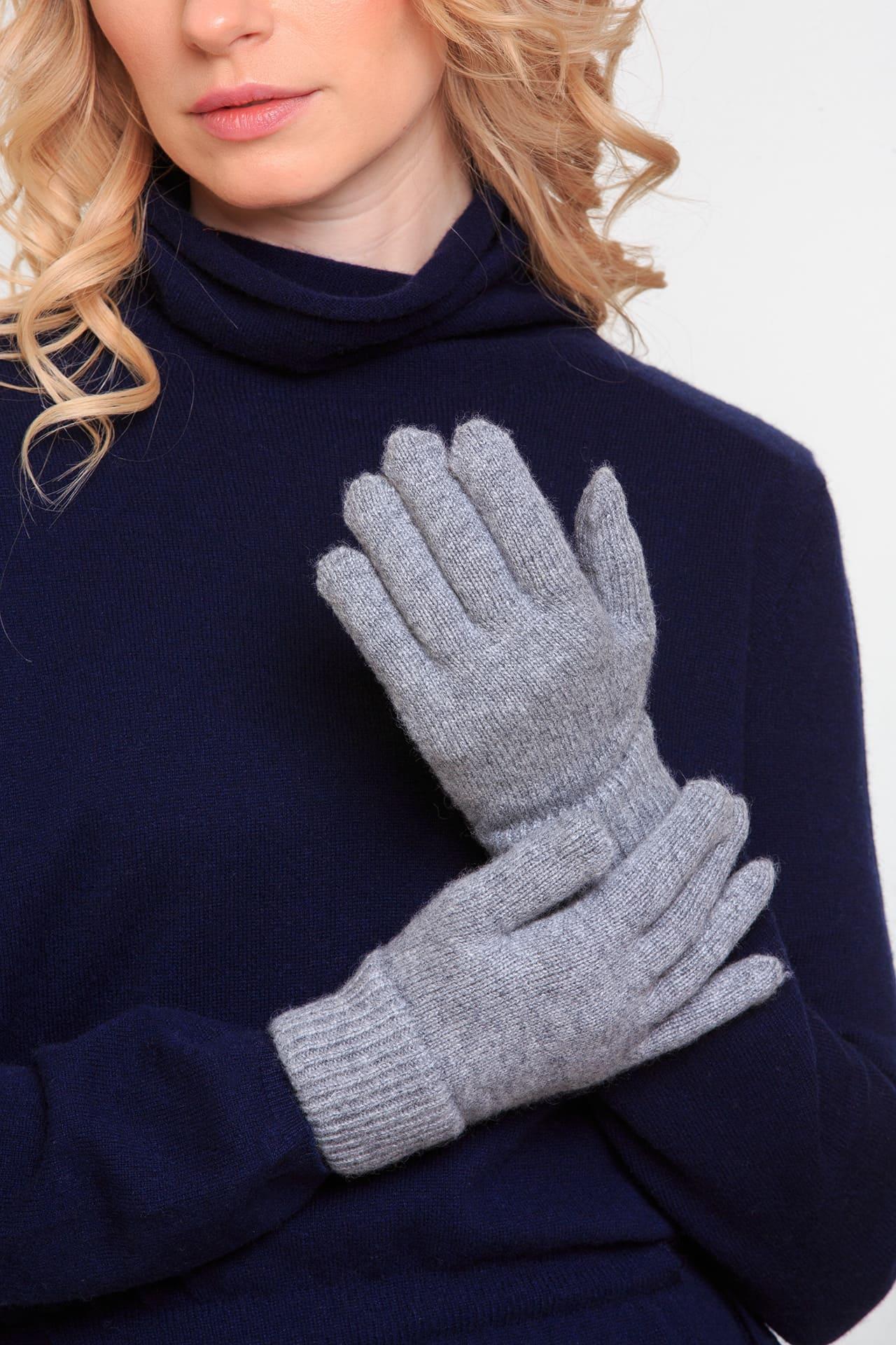 Серые перчатки из кашемира
